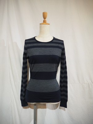 JOHN SMEDLEY Crew Neck Striped Sweater / Made in England [1435]
