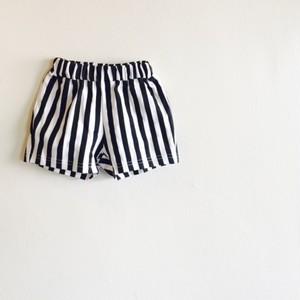 ストライプショートパンツ☆ホワイト×ブラック ラスト1点 130サイズ