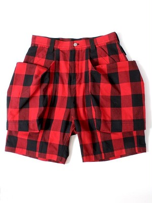 TROVE x 岡部文彦 / BIG POCKET SHORTS ( BUFFALO CHECK ) / BLACKxRED