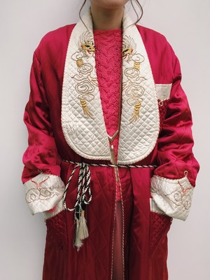 Vintage Chinese wine red  embroidery  quilting jacket ( ヴィンテージ チャイニーズ 刺繍 ワインレッド キルティング ジャケット