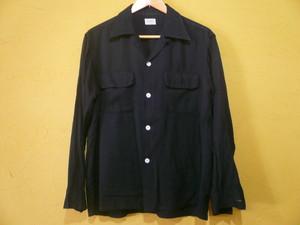 USビンテージ50sオープンカラーシャツブラック黒/ギャバジンロカビリーOLD