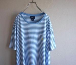 [Ralph Lauren] ワンポイントポニー刺繍 ボーダー柄 ポケットTシャツ ライトブルー×ホワイト 表記(XXL) ラルフローレン