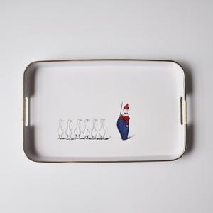 【プラスチックトレイ】アヒル 道化師 長方形 Lサイズ 1970年代 デッドストック 日本製
