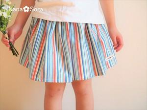 USAコットン・涼し気ストライプのギャザースカート ブルー