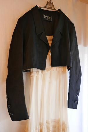 CHANEL Linen Short Black Jacket