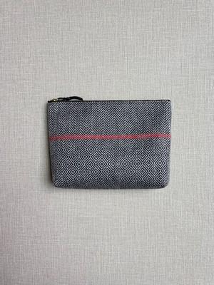 手織りポーチライン(HAND WOVEN MAKE UP BAG 20cm RED LINE)