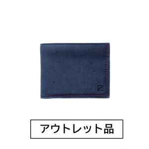 【アウトレット】二つ折り財布 小銭入れ付き ブルー&ブラウン  【40%OFF】