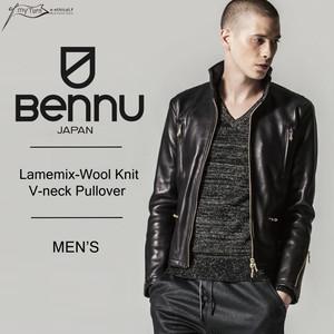 【BENNU】Lamemix-Wool Knit V-neck Pullover/ラメミックス