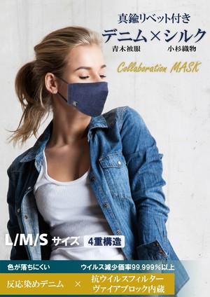 特注リベット付きデニム×シルク コラボレーションマスク 抗ウイルスフィルタ内蔵 ALLシーズン  裏地絹100% 四重構造
