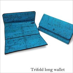 VEGAN TRIFOLD WALLET  TEAL / 三つ折り長財布 ティール コルク製