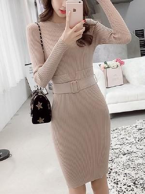【dress】temperament slim wild knit dress
