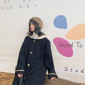 【アウター】韓国系セーラーカラー配色ラシャコート