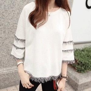 【トップス】大きいサイズ合わせやすい無地フリンジ着瘦せTシャツ19007437