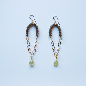 Andalusite × Green Garnet Pierced Earrings