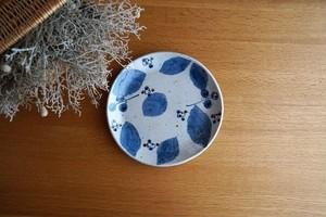砥部焼/平皿/ブルー木の葉/森陶房