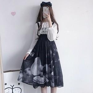 【セットアップ】2点セット夏新作韓国風清新着瘦せファッショントップス+キャミワンピース