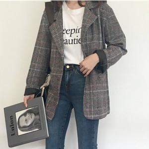 【outer】レトロチェック柄長袖折り襟コート14324307