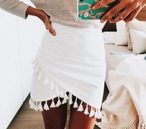Tassel White Skirt♥
