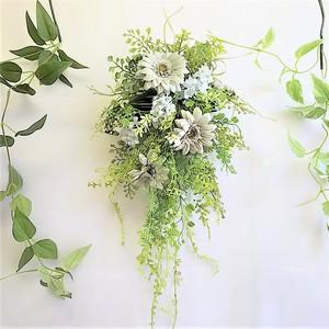 グリーン グレイ ガーベラ と 小花 の ナチュラル グリーン スワッグ アーティフィシャルフラワー