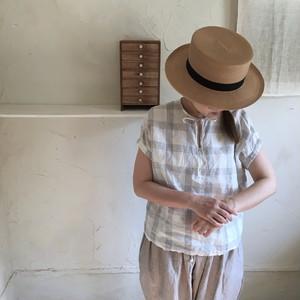Lulu半袖チェックブラウス(白×グレー)