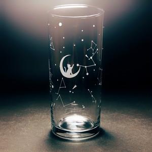 猫 と 星座 の クリア グラス タンブラー 300ml