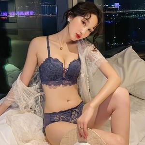 【インナー・下着】ファッションセクシー後ろホックノンワイヤーアップリケ刺繍下着セット23339140