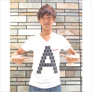オリジナルTシャツ 「A」 メンズ(Vネック)