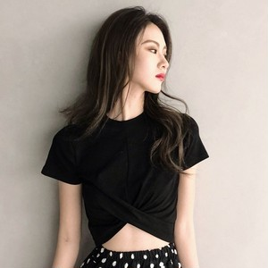 【トップス】ファッションセクシー無地ミニ丈Tシャツ
