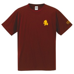 ワンポイントキャラクターTシャツ(バーガンディー×山吹色)