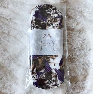 Siamese 猫柄布ナプキンSサイズ(ネイビー猫)