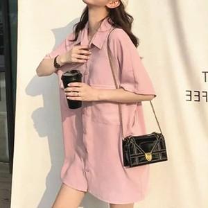 【ワンピース】快適なゆったり着瘦せファッションレトロシャツワンピース