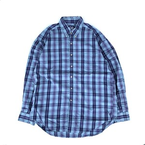 "USED 90's ""OLD GAP"" pattern shirts - blue"