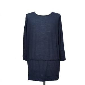 STRATUM DROP SHOULDER CROPPED SLEEVES -NAVY-