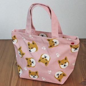 【オール柴田さん・柴犬】ミニトートバッグ(内ポケット付)(ピンク)【ランチトート】【柴犬グッズ】