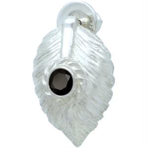ブラックCZ ホワイト ネイディブ ハート フェザー  シルバー ピアス△キュービックジルコニア使用*BE-1036
