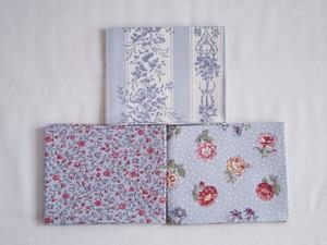 Moda Jardin de Fleurs ブルーのカットクロスセット3