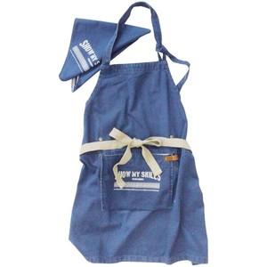 アンドパッカブル エプロン 三角巾セット 子供用 約70×68cm 紺デニムライク ネイビー 89561