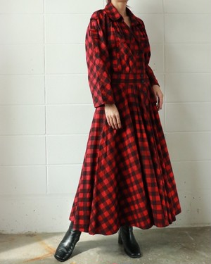 red black check dress