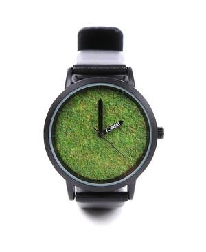 メンズ 森の腕時計 芝生  ブラック [並行輸入品]