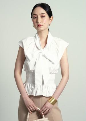 west gather ribbon blouse(white)