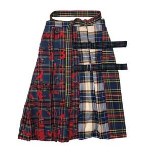 加工チェック巻きスカート A