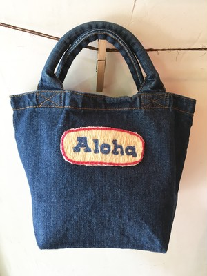 "Mahalo11Original☆ Denim tote bag""Simple""2"