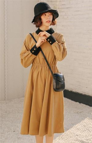 【dress】レトロ配色長袖折り襟シャツワンピース15233007