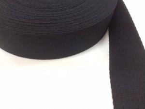 アクリル 三つ綾織 しっかり厚め 黒 38mm幅 1m