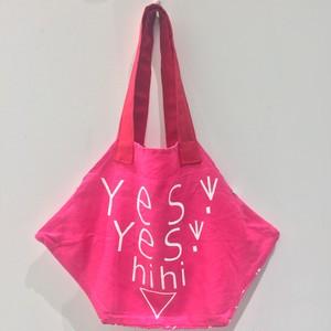 【yes!yes!非非】六角BAG ロゴデザイン(リネンピンク)