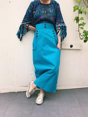 60s sax blue × navy long skirt ( ヴィンテージ 水色 × ネイビー  ロングスカート