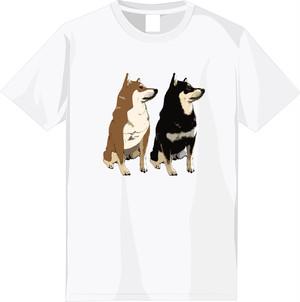 【期間限定受注】選べる全6種!フルカラー柴犬デザインTシャツ<⑤:柄大きめ>
