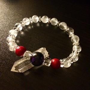 霊石スギライトと珊瑚とアイスクリスタルのヒーリングブレスレット