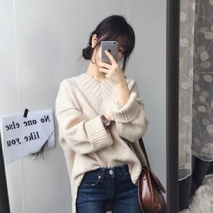 【トップス】カジュアル森ガール秋冬無地スウィートスリットVネックセーター
