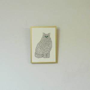 【受注制作】版画/緑の目の猫/A4サイズ/フレームなし, Prints/Green Eyed Cat/Unframed